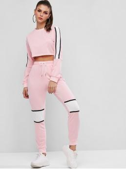 No Fall and Spring Patchwork and Striped Flat Drawstring High Elastic Long Round Regular Fashion Casual and Daily and Going Cropped Stripes Panel Color Block Two Piece Set