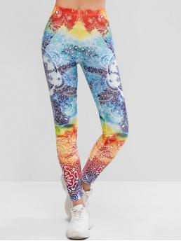 Fall and Spring Full Floral High Daily and Sports Fashion Flower Skinny Yoga Leggings