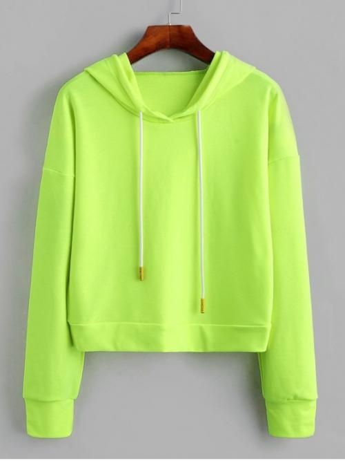 Autumn and Spring and Winter Others Elastic Full Short Drop Hooded Hoodie Drop Shoulder Drawstring Neon Hoodie