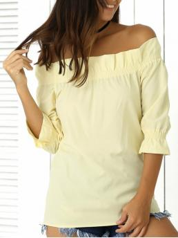 Summer Solid Off Three Regular Fashion 3/4 Sleeve Off The Shoulder Ruffles Solid Color Blouse