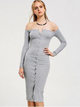 Fall and Spring No Solid Button Long Off Mid-Calf Bodycon Casual and Day and Going Brief Button Up Off Shoulder Bodycon Dress