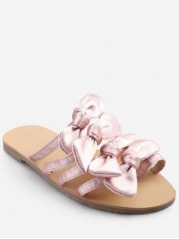 Satin Bow Bowknot Slip-On Flat Slides Casual Leisure For Bowknot Decorated Leisure Flat Heel Thong Slide Sandals
