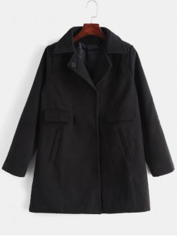 Pockets Solid Turn-down Full Long Wide-waisted Casual Snap Button Solid Color Coat