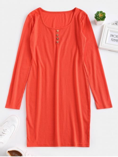 No Fall and Spring Solid Long Scoop Mini Sheath Casual and Day Brief Fitted Long Sleeve Short Dress