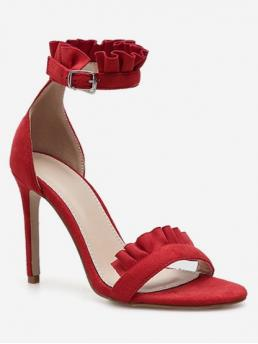 Suede 10CM Ruffles Solid Buckle Stiletto Ankle Casual Fashion For Ruffle Strap Stiletto Heel Sandals