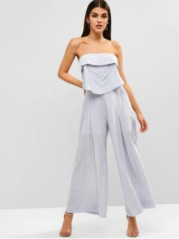 Summer No Flounce Striped Nonelastic Sleeveless Strapless Regular Sexy Daily Flounce Striped Strapless Jumpsuit