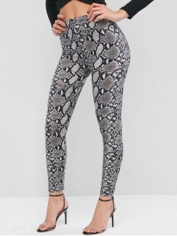 Fall and Spring Snake Elastic High Daily and Going Fashion Pull On Snake Print High Waisted Leggings