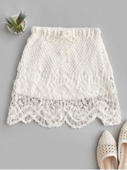 No Elastic Fall and Spring and Summer Drawstring Solid A-Line Mini Daily and Going Fashion Drawstring Crochet Scalloped Hem Mini Skirt