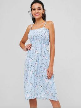 No Summer Floral Sleeveless Spaghetti Mid-Calf A-Line Day and Vacation Fashion Floral Smocked Cami Dress