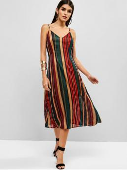 No Summer Striped Cut Sleeveless Spaghetti Mid-Calf A-Line Casual and Vacation Casual Cut Out Back Shadow Striped Cami Dress