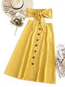 No Summer Button Solid Flat Button High Sleeveless Strapless A Fashion Beach Knotted Bandeau Top And Button Up Skirt Set