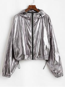 Nonelastic Autumn and Spring Pockets Solid Zipper Hooded Drop Full Regular Wide-waisted Fashion Jackets Daily Hooded Metallic Windbreaker Jacket