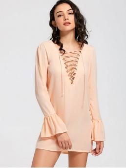Fall and Spring No Solid Long Flare Plunging Mini Straight Causal and Going Brief Flare Sleeve Lace Up Shift Dress