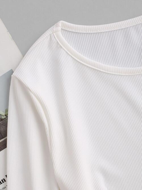 Fashion Full Sleeve Polyester Solid Color White Ribbed Corset Style Boned Detail Tee