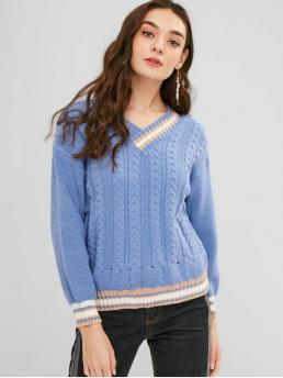 Winter Elastic Full Drop V-Collar Regular Regular Fashion Daily and Going Pullovers Cable Knit Striped Trim Sweater