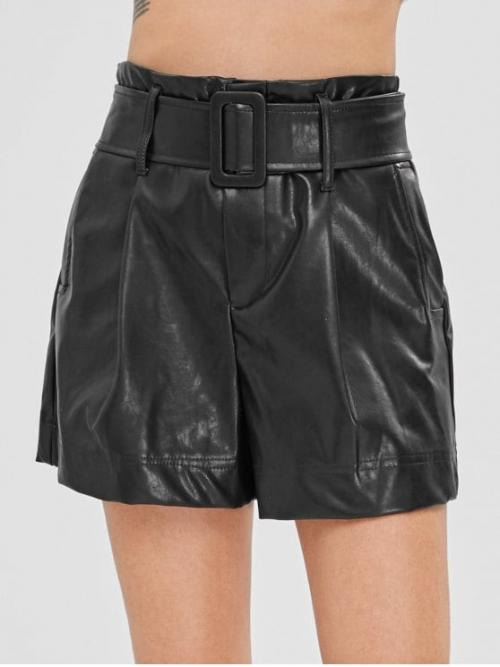Yes Solid Flat Zipper High Regular Casual Plain Belted Faux Leather Shorts
