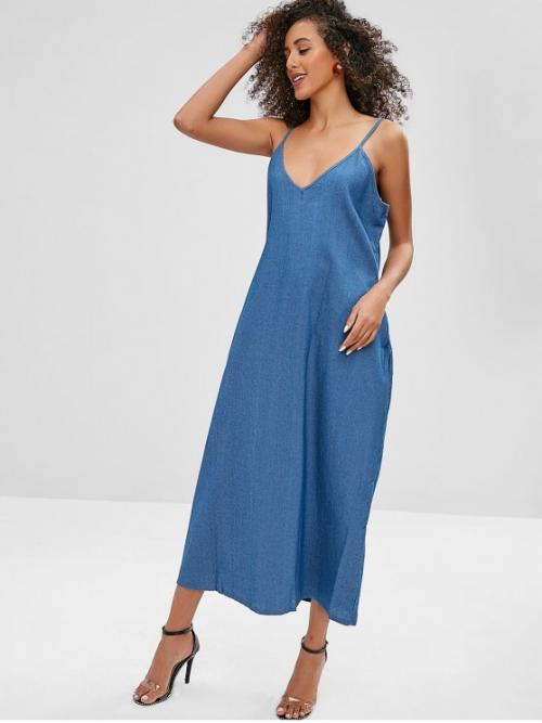 No Summer Solid Pockets Sleeveless Spaghetti Mid-Calf Straight Beach and Casual Casual Cami Pocket Chambray Dress