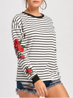 Fall and Spring Striped Fashion Full Regular Floral Embroidered Crew Neck Drop Shoulder Sweatshirt