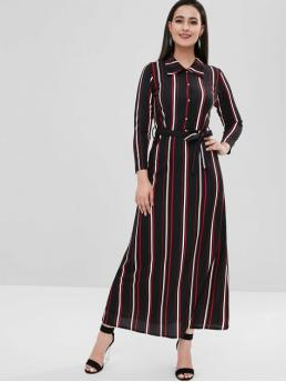 Yes Fall and Spring Striped Long Shirt Ankle-Length A-Line Casual and Day Brief Long Sleeve Striped Belted Dress