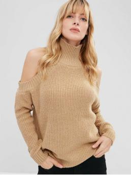 Autumn and Winter Cut Solid Micro-elastic Full Turtlecollar Regular Loose Fashion Daily and Going Pullovers Pullover Turtleneck Cold Shoulder Sweater