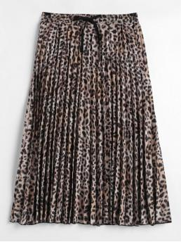 Fall and Spring Elastic Leopard Pleated Mid-Calf Daily and Going Fashion Leopard Print Pleated Midi Skirt