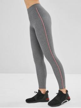Fall and Spring and Winter Striped Elastic High Daily and Going Casual High Waisted Striped Trim Leggings