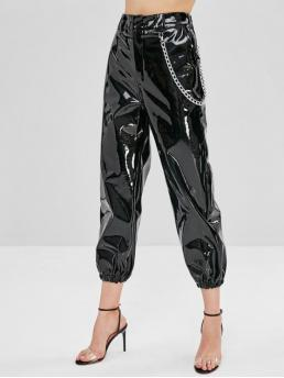 Fall and Spring No Elastic Jogger Solid Chains Regular High Fashion Shiny Chain PU Leather Jogger Pants