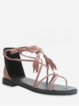 Suede Rubber Solid Lace-Up Flat Ankle-Wrap Beach Leisure For Back Zip Strappy Flat Sandals