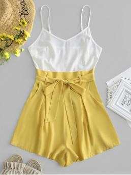 Summer Yes Patchwork Sleeveless Spaghetti Loose Casual Casual Color Block Belted Cami Romper