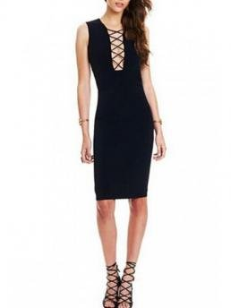 Fall No Solid Sleeveless V-Collar Knee-Length Sheath Sexy Solid Color Lace Up Sleeveless Bodycon Dress