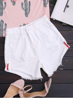 White Solid Flat Zipper High Regular Denim Fashion High Waisted Curled Hem Ripped Denim Shorts