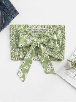 Cotton,polyester Floral Green Fashion Smocked Knot Bandeau Crop Top Fashion