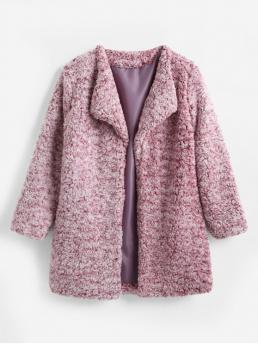 Heathered Open Front Fluffy Coat