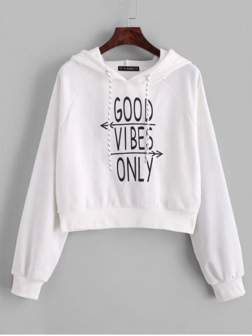 Autumn Letter Elastic Full Short Raglan Hooded Hoodie Good Vibes Only Graphic French Terry Hoodie