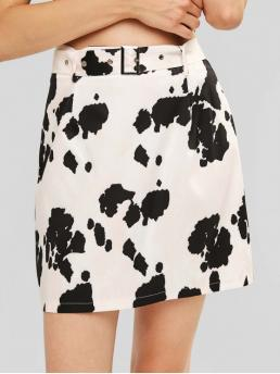 Yes Nonelastic Fall and Spring and Summer Zipper Sashes Animal A-Line Mini Daily Fashion Belted Cow Print Mini Skirt