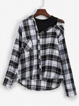 Autumn and Spring Button and Pockets Plaid Full Drop Regular Skew Fashion Daily Plaid Drop Shoulder Pocket 2fer Blouse
