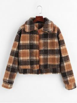 Cheap Long Sleeves Wide-waisted Polyester Plaid Fluffy Faux Fur Short Coat