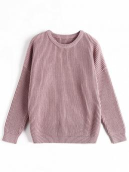 Full Round Fashion Pullovers Ribbed Chunky Sweater