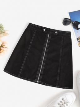 Trending now Black Others Mini Fashion Faux Suede Topstitch Zip Fly Skirt
