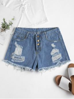 Solid Flat Button High Skinny Streetwear Ripped High Waisted Denim Cutoff Shorts