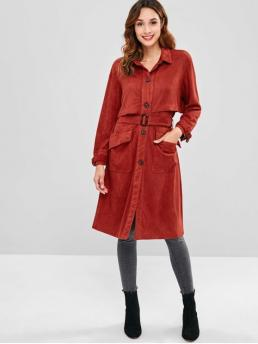 Autumn Fashion Pockets Solid Turn-down Long Full Wide-waisted Leather Button Front Faux Suede Trench Coat