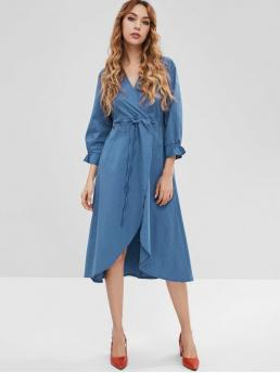 No Fall and Spring Solid 3/4 V-Collar Mid-Calf A-Line Casual  and Day Brief Chambray Surplice Front Slit Dress