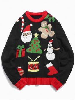 Christmas Theme Printed Pullover Sweater