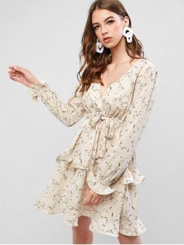 No Fall Floral Long V-Collar Mini Surplice A-Line Vacation Casual Frilled Tiny Floral Mini Surplice Dress