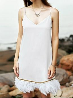 Spring and Summer No Tassel Solid Sleeveless Spaghetti Mini A-Line Causal Casual White Cami Fringe Dress