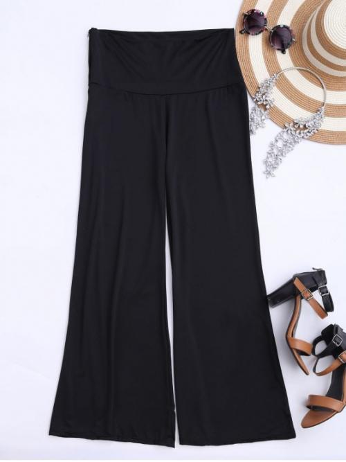 Zipper Wide Solid Loose High Fashion Soft High Waisted Palazzo Pants