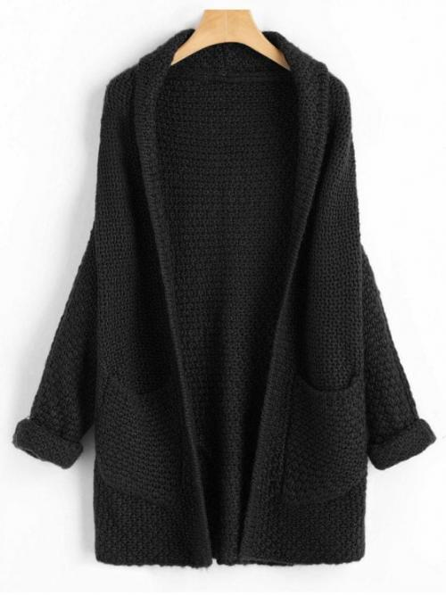 Autumn and Winter Solid Micro-elastic Full Shawl Long Loose Fashion Cardigans Curled Sleeve Batwing Open Front Cardigan