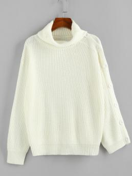 Full Sleeve Pullovers Polyacrylic Solid Turtleneck Chunky Sweater Cheap