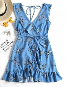 Yes Spring and Summer Floral Ruffles Sleeveless Plunging Mini Asymmetrical Beach and Casual and Vacation Casual Plunging Neck Ruffled Belted Floral Dress