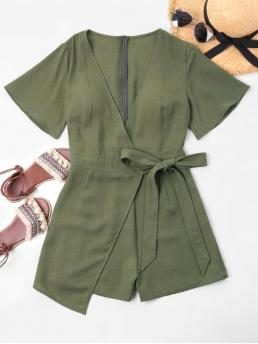 Summer No Bowknot Solid Short Plunging Regular Casual Daily Low Cut Overlap Romper